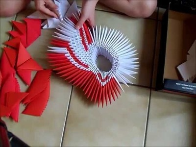 3d origami big red winged swan part 1