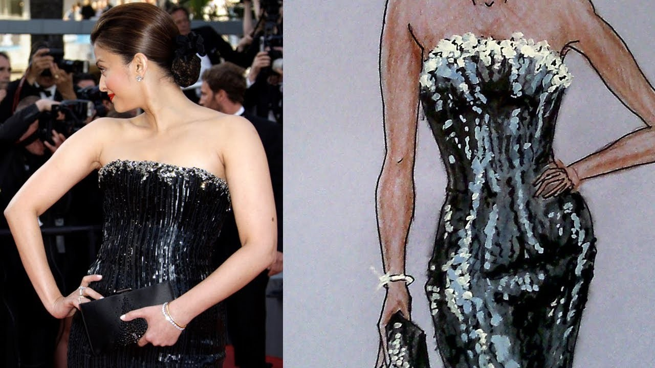 Aishwarya Rai's Armani Dress Tutorial: Fashion Design Drawing Lesson