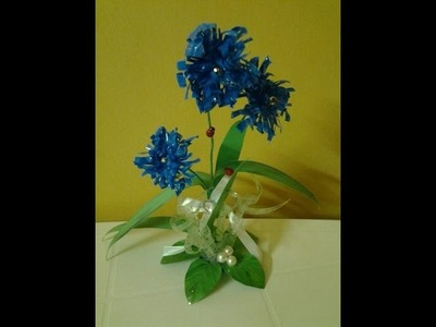 Best Out Of Waste Plastic transformed to Cute Curly Blue flower Showpiece
