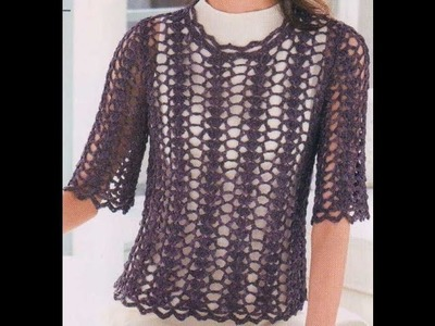 Blusa Calada Color Chocolate a Crochet