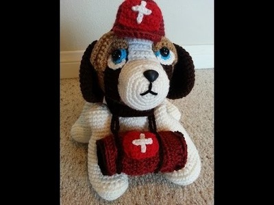 Crochet Saint Bernard Amigurumi Medical Rescue Dog Part 1 of 2 DIY Tutorial