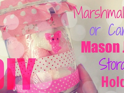 DIY Desk Decor - Pink Marshmallow Candy Mason Jar Storage Holder