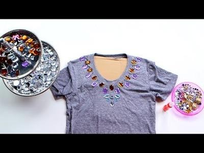 DIY Fashion | Jeweled Tee Shirt Collar