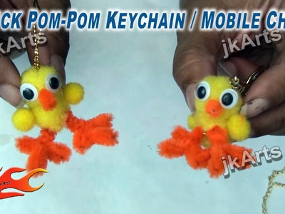 DIY How to make Chick Pom Pom Keychain. Mobile Chain - JK Arts 277