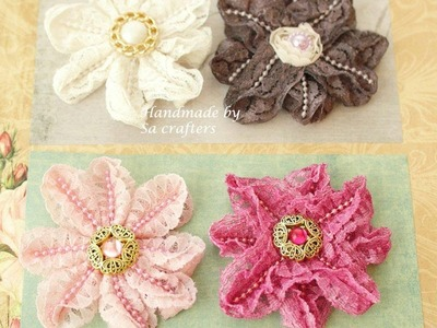Lace trim flowers tutorial