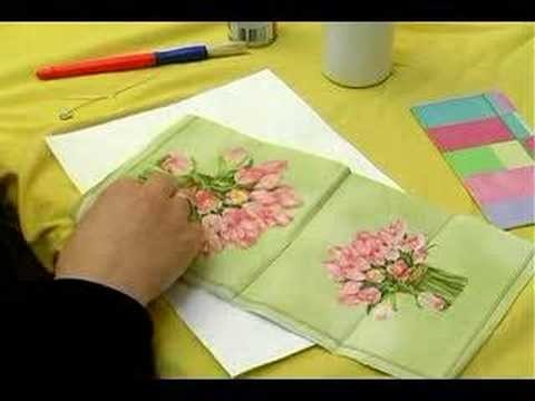 Making Personalized Decoupage Items : Shaping a Napkin to the First Heart in Decoupage Hanging Decoration