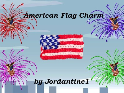 New American Flag Charm - How To Read A Grid Pattern - Alpha Loom Bands - Shown On Rainbow Loom