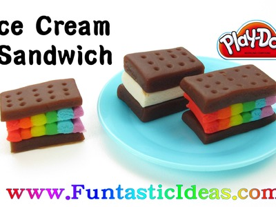 Play Doh Rainbow Ice Cream Sandwich - How to with playdough.Easy DIY Kids