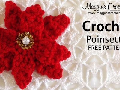 Poinsettia Free Crochet Pattern - Right Handed