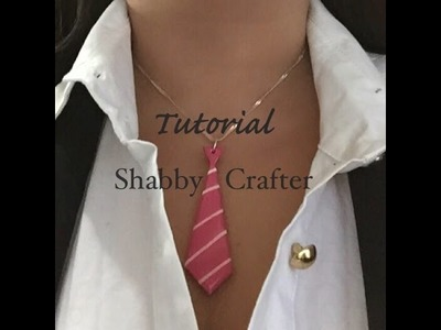 Polymer clay tie necklace charm tutorial