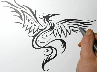 How to Draw a Phoenix Bird - Tribal Tattoo Design Style