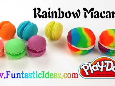 Play Doh Rainbow Macaron - How to with playdough- Easy Fun Idea for Kids