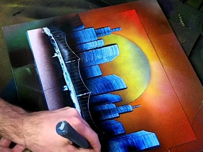 Simple Sunset Skyline - Spray Paint Art