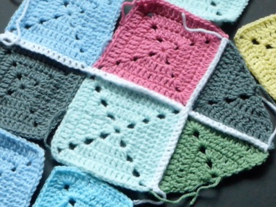 CROCHET ALONG - Attaching Granny Squares W.Single Crochet Version #1 (4Right Handed)