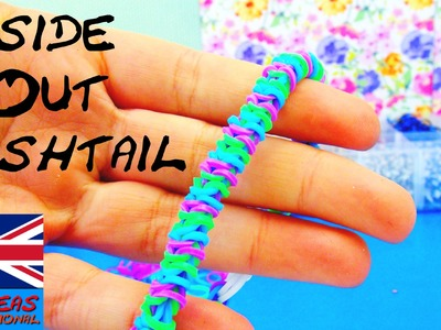 Fishtail Loom Bracelet INSIDE OUT Rainbow Loom with Fork Tutorial in english without the loom