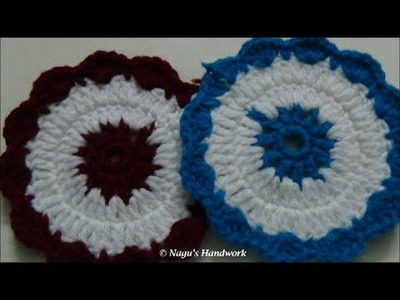 How to crochet a round placemat - Crochet Coaster Tea Mat By Nagu's Handwork