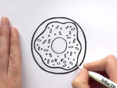 How to Draw a Cartoon Iced Donut With Sprinkles