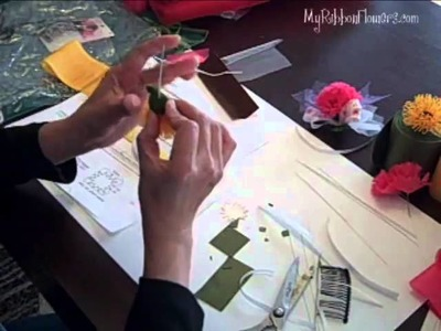 How to make Ribbon Chrysanthemum Flower, Part 2 of 2