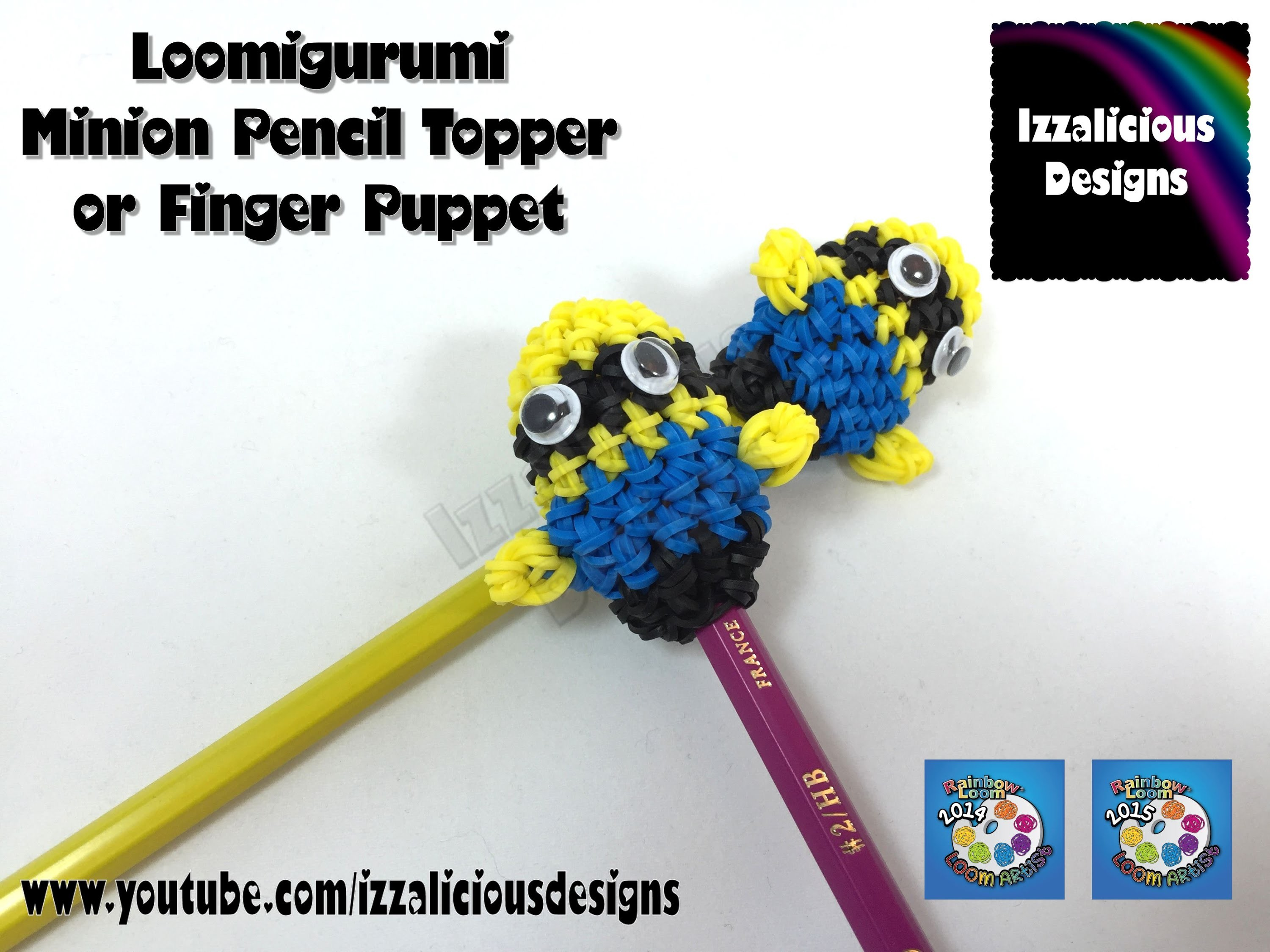 Loomigurumi Minion Pencil Topper | Finger Puppet - hook only - amigurumi with Rainbow Loom Bands