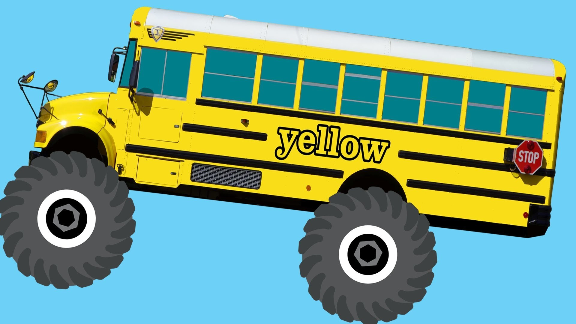 Monster Truck School Buses Teaching Colors & Crushing Words - Learning Basic Colours Video for Kids