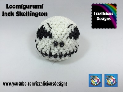 Loomigurumi Jack Skellington Skull for Halloween - hook only - amigurumi with Rainbow Loom Bands