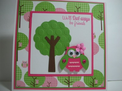 We'll OWL-ways be friends. tree and owl card