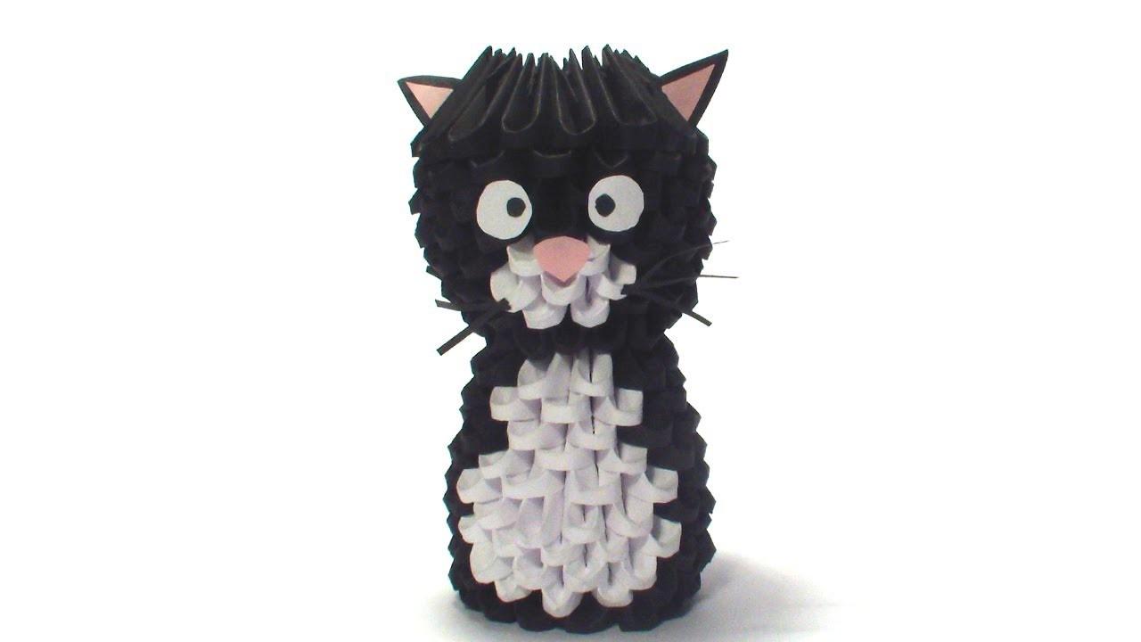 3D origami cat