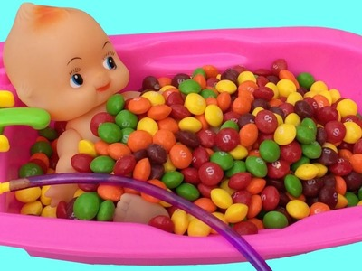 Baby Doll Bath In Skittles Candy Pretend Play