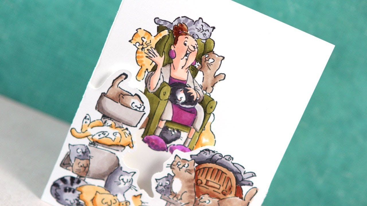 Copic Markers & Art Impressions Cat Lady - Color Wednesday #47