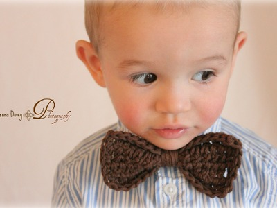 Crochet Bow Tie Tutorial - Great photo prop - Left Handed
