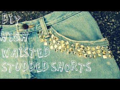 DIY: High-Waisted Studded Denim Shorts