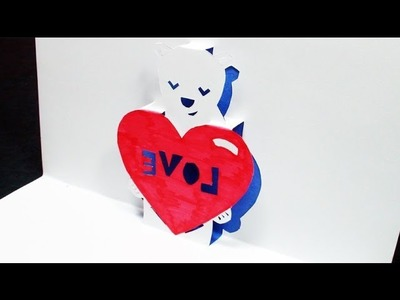 How to make a Heart Bear Love Pop Up Card | FREE Template (Kirigami 3D) Valentines Day Greetings!