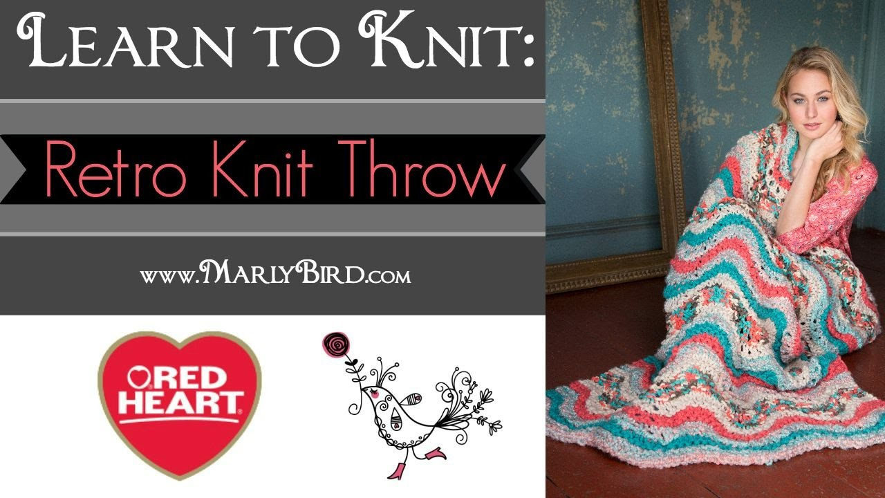 Learn to Knit the Retro Knit Throw in Red Heart Mixology