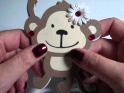 Monkey NotePad using Create a Critter Cricut cartridge