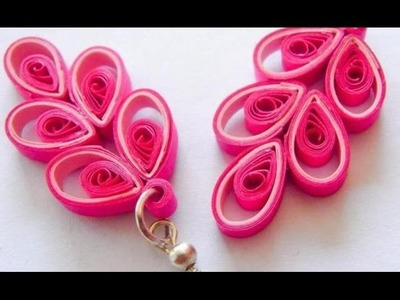 New : Art & Craft How to make Beautiful Quilling Earring Pink.White design -Paper Art Quilling