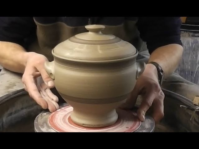 Throwing. Making a Lidded Pottery Soup Tureen. Terrine on the Wheel