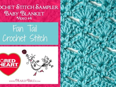 Fan Tail Stitch for the Crochet Stitch Sampler Baby Blanket Crochet Along (Video 4)