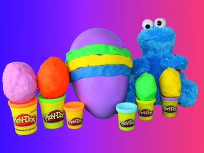 Giant PLAY DOH Egg Kinder Surprise Egg & Choco Treasure Surprise Toys Cookie Monster + Blind Bags