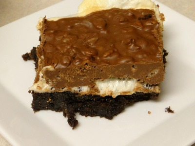 How to make Brownies with a twist!  (Chocolate Peanut Butter Marshmallow Rice Krispie) brownies