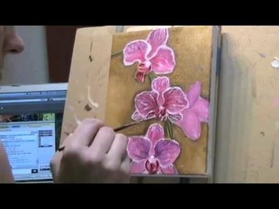 Pink Orchids Painting by Gayle