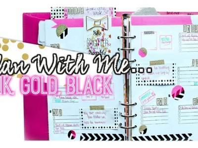 Plan With Me. Pink, Gold, Black Layout For Your Planner. villabeauTIFFul