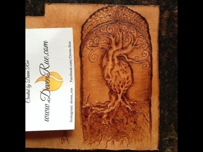 Pyrography on Leather Heart Tree Cellphone Wallet