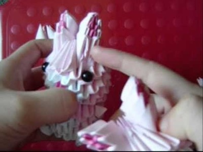 3D origami pink bunny part 2