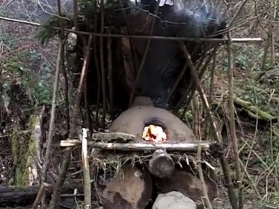 Bauanleitung für einen Bushcraft- Lehmofen. how to build a bushcraft clay oven