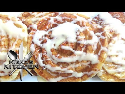 Cinnamon Roll Pancakes with Cream Cheese Frosting - Video Recipe