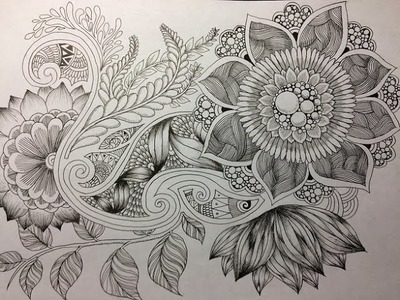 How to draw Botanical doodle. Zentangle #11