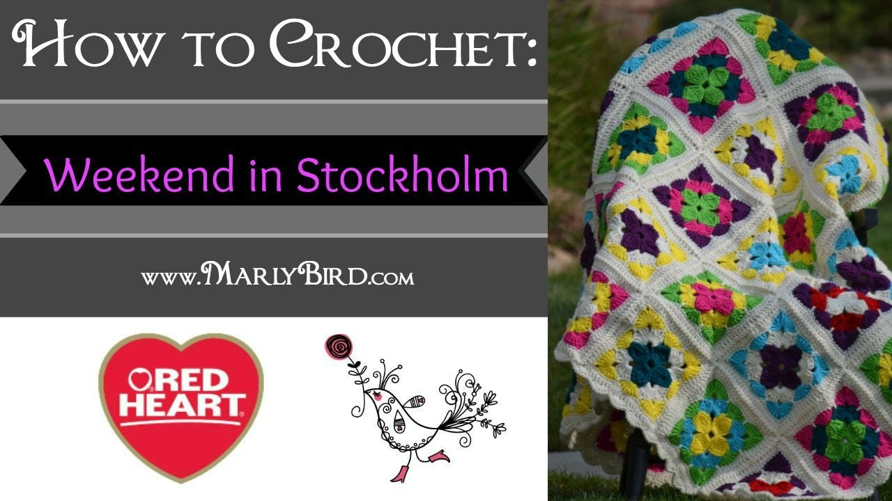 Learn to Crochet the Weekend in Stockholm Throw in Red Heart Super Saver Yarn