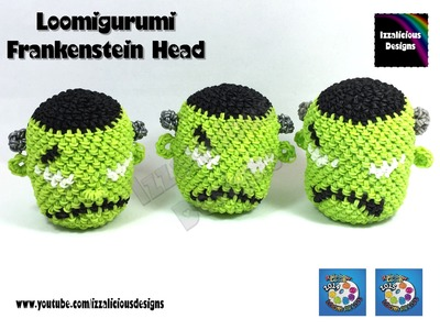 Loomigurumi Frankenstein Head for Halloween - hook only - amigurumi with Rainbow Loom Bands