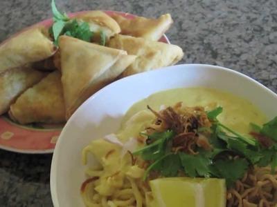 Samosas & Egg Noodles   Sweet Violet's Burmese Cuisine