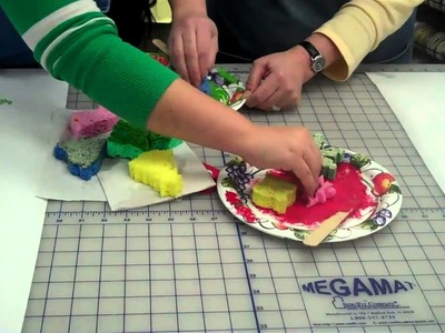 Create your own gift wrapping paper using sponges and paint by Lisa's Gift Wrappers